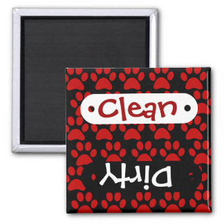 Cute Puppy Dog Paw Prints Red Black 2 Inch Square Magnet