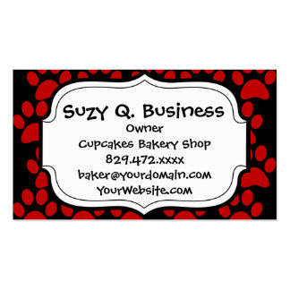 Cute Puppy Dog Paw Prints Red Black Double-Sided Standard Business Cards (Pack Of 100)