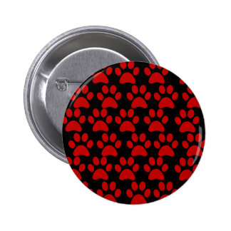 Cute Puppy Dog Paw Prints Red Black Button