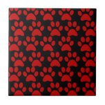 Cute Puppy Dog Paw Prints Red Black Ceramic Tile