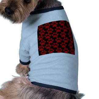 Cute Puppy Dog Paw Prints Red Black Pet Shirt