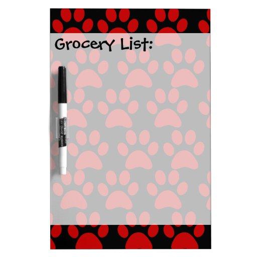 Cute Puppy Dog Paw Prints Red Black Dry-Erase Board
