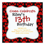 Cute Puppy Dog Paw Prints Red Black Invitation