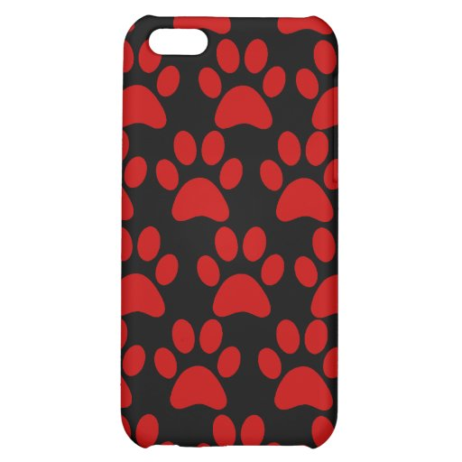 Cute Puppy Dog Paw Prints Red Black iPhone 5C Cover
