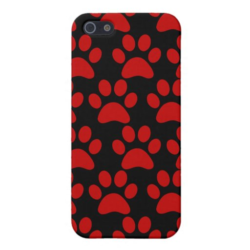 Cute Puppy Dog Paw Prints Red Black Covers For iPhone 5
