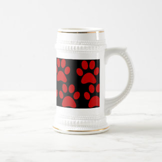 Cute Puppy Dog Paw Prints Red Black Coffee Mugs