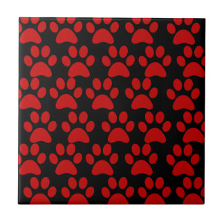 Cute Puppy Dog Paw Prints Red Black Tile