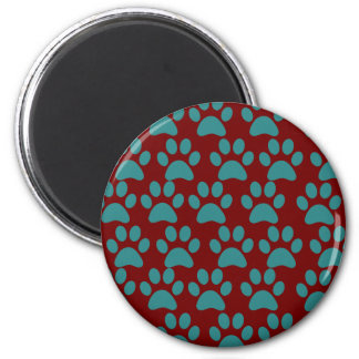 Cute Puppy Dog Paw Prints Red Blue 2 Inch Round Magnet