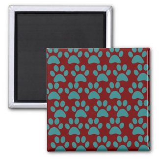 Cute Puppy Dog Paw Prints Red Blue 2 Inch Square Magnet