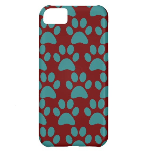 Cute Puppy Dog Paw Prints Red Blue Case For iPhone 5C