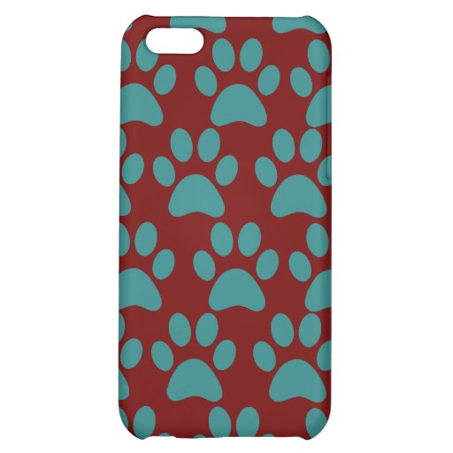 Cute Puppy Dog Paw Prints Red Blue iPhone 5C Case