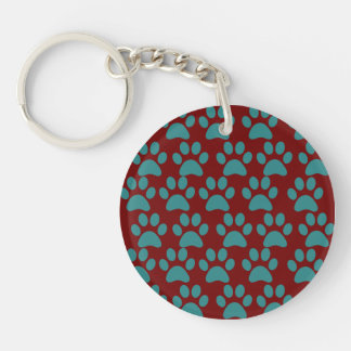 Cute Puppy Dog Paw Prints Red Blue Keychains