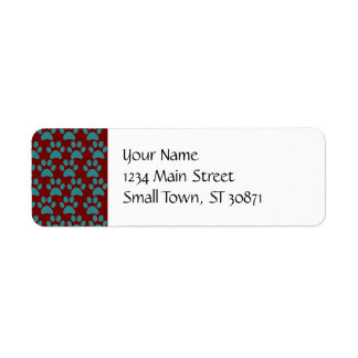 Cute Puppy Dog Paw Prints Red Blue Label