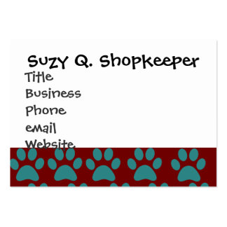 Cute Puppy Dog Paw Prints Red Blue Large Business Card