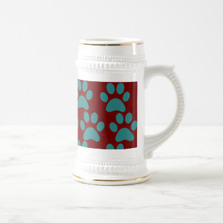 Cute Puppy Dog Paw Prints Red Blue Coffee Mugs