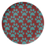 Cute Puppy Dog Paw Prints Red Blue Plate
