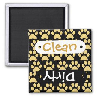 Cute Puppy Dog Paw Prints Tan Black 2 Inch Square Magnet