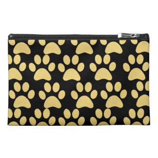 Cute Puppy Dog Paw Prints Tan Black Travel Accessories Bags