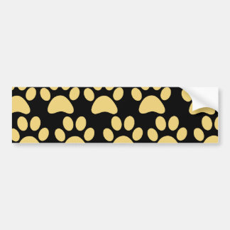 Cute Puppy Dog Paw Prints Tan Black Bumper Sticker