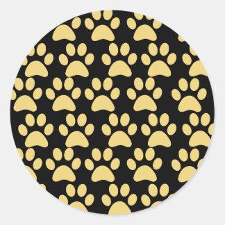 Cute Puppy Dog Paw Prints Tan Black Classic Round Sticker