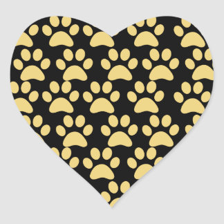 Cute Puppy Dog Paw Prints Tan Black Heart Sticker