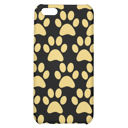 Cute Puppy Dog Paw Prints Tan Black Case For iPhone 5C