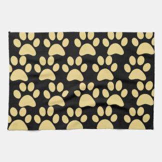 Cute Puppy Dog Paw Prints Tan Black Kitchen Towel