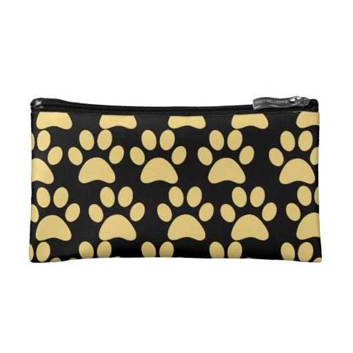 Cute Puppy Dog Paw Prints Tan Black Makeup Bags