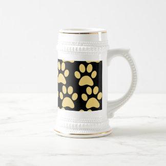 Cute Puppy Dog Paw Prints Tan Black Mug