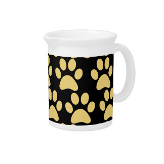 Cute Puppy Dog Paw Prints Tan Black Pitchers