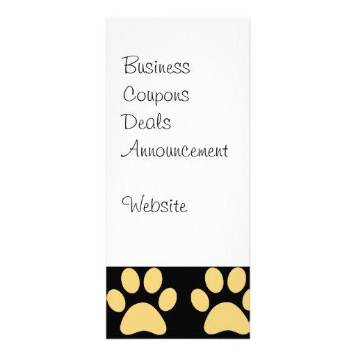 Cute Puppy Dog Paw Prints Tan Black Full Color Rack Card