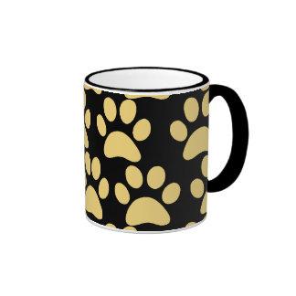 Cute Puppy Dog Paw Prints Tan Black Ringer Coffee Mug