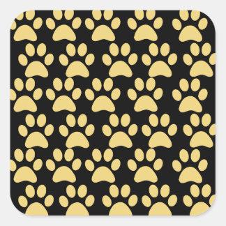 Cute Puppy Dog Paw Prints Tan Black Square Sticker