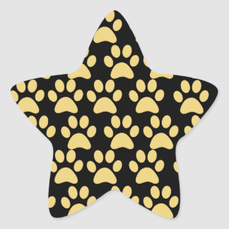 Cute Puppy Dog Paw Prints Tan Black Star Sticker