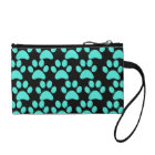 Cute Puppy Dog Paw Prints Teal Blue Black Change Purse