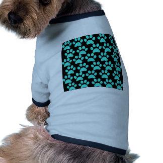 Cute Puppy Dog Paw Prints Teal Blue Black Doggie Tshirt
