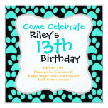 Cute Puppy Dog Paw Prints Teal Blue Black 5.25x5.25 Square Paper Invitation Card