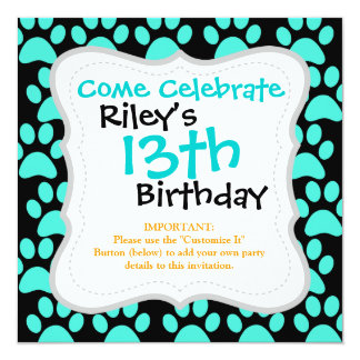 Cute Puppy Dog Paw Prints Teal Blue Black 5.25x5.25 Square Paper Invitation Card
