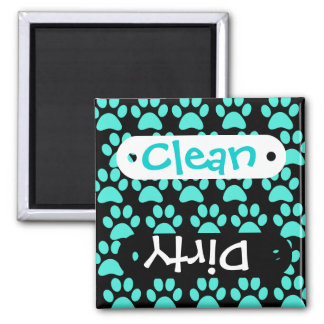 Cute Puppy Dog Paw Prints Teal Blue Black Magnet