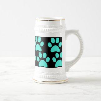 Cute Puppy Dog Paw Prints Teal Blue Black Coffee Mug
