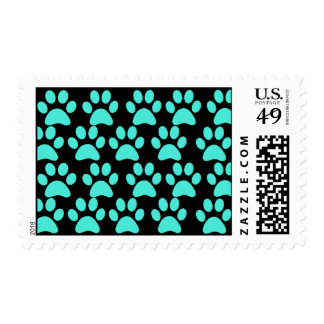 Cute Puppy Dog Paw Prints Teal Blue Black Postage Stamps