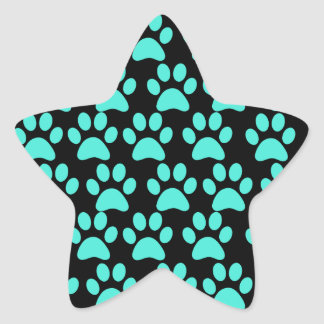 Cute Puppy Dog Paw Prints Teal Blue Black Star Sticker
