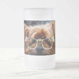 Cute Puppy Dog Pet Peace Love Destiny Art 16 Oz Frosted Glass Beer Mug