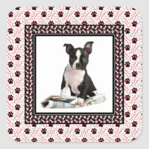 Cute Puppy Dog Photo Paw and Bone Template Square Sticker