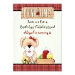 Cute Puppy Dog Picnic Birthday Invitation ~ Girls