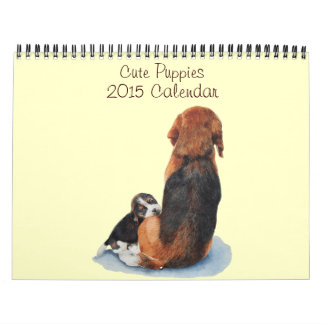 cute puppy dog portrait paintings realist art 2015 wall calendars