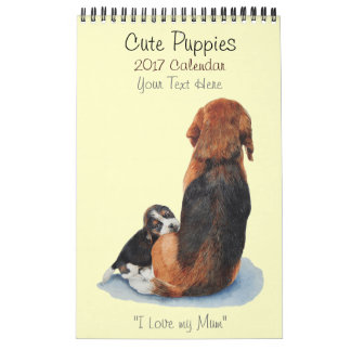 cute puppy dog portrait paintings realist art 2017 calendar