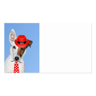 Cute puppy dog red fashion funy moustache tie hat Double-Sided standard business cards (Pack of 100)