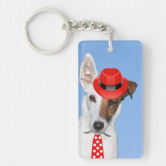 Cute puppy dog red fashion funy moustache tie hat rectangular acrylic keychain