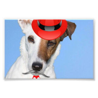 Cute puppy dog red fashion funy moustache tie hat photo print